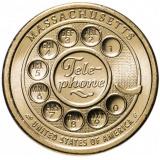 """США 1 доллар (dollar) 2020 P """"Американские инновации - Первый дисковой номеронабиратель, телефон (Массачусетс)"""""""
