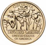 """США 1 доллар (dollar) 2019 """"Американские инновации - Сад попечителей (Джорджия)"""""""