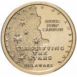 """США 1 доллар (dollar) 2019  """"Американские инновации - Классификация звезд, Энни Кэннон (Делавэр)"""""""