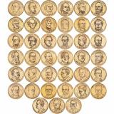 """Набор из 39 монет номиналом 1 доллар, США, 2007-2019 """"Президенты США"""""""