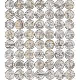 """Набор из 56 монет номиналом 25 центов, США, 1999-2009 """"Штаты и территории"""""""