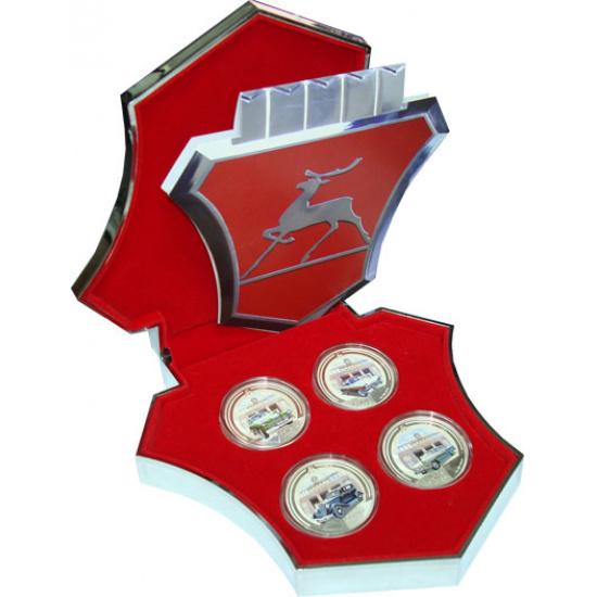 Набор монет Ниуэ Известные машины ГАЗ Серебро 2008 Proof - 1