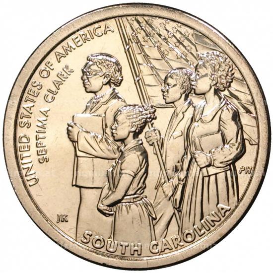 США 1 доллар, 2020 год. Американские Инновации - Южная Каролина. Септима Кларк. - 1