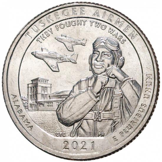 США 25 центов, 2021г. 56-й Национальный исторический парк Пилоты Таскиги - 1