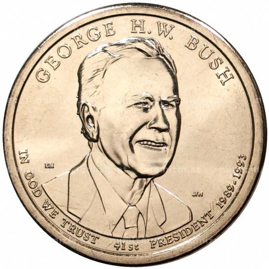 США 1 доллар 2020 г. 41-ый президент Джордж Буш-старший - 1